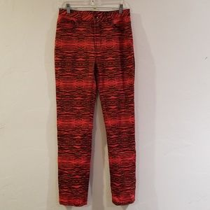 Diane Gilman DG2 stretchy red tiger print pants